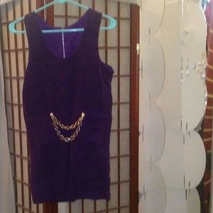 Dresses & Skirts - Mini Purple Corduroy Dress with Gold Chain
